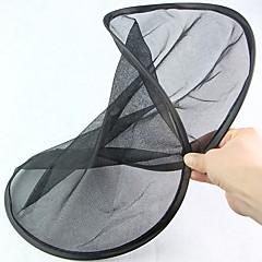 Redonda forma plegable negro meshy coche ventana trasera sombreado escudo (2pcs