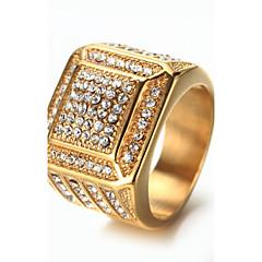Homens Anéis Grossos Gema Moda Vintage Jóias de Luxo Elegant Bling Bling Aço Titânio Jóias Jóias Para Aniversário Diário Rua Bandagem