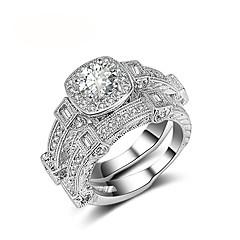 Mulheres Anéis Grossos Zircônia cúbica Jóias de Luxo Vintage Pedaço de Platina Zircão Forma Redonda Jóias Para Casamento Noivado Cerimônia