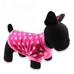 お買い得  犬用ウェア&アクセサリー-ネコ 犬 Tシャツ 犬用ウェア 水玉 / 波点 レッド フリース コスチューム ペット用