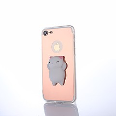 Voor iPhone 8 Plus Hoesje cover Spiegel DHZ squishy Achterkantje hoesje Kat Effen Kleur 3D Cartoon Hard PC voor Apple iPhone 7s Plus