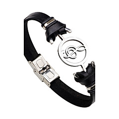 cheap Bracelets-Men's Women's Stainless Steel Leather Leather Bracelet - Personalized Fashion Rock Music Notes Black Brown Bracelet For Gift Stage Club