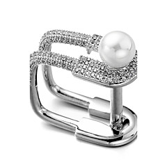 preiswerte Ringe-Herrn Kubikzirkonia Nicht übereinstimmend Ring - Perle, Zirkon, versilbert 7 / 8 / 9 Silber Für Weihnachten Hochzeit Geschenk