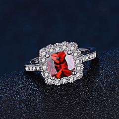お買い得  指輪-女性用 合成ルビー バンドリング  -  純銀製 ファッション, エレガント 6 / 7 / 8 レッド 用途 結婚式 / 婚約 / 日常