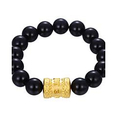preiswerte Armbänder-Herrn Damen Obsidian Strang-Armbänder Armband - vergoldet Kugel Personalisiert, Retro, Rockig Armbänder Schwarz Für Geschenk Normal Strasse