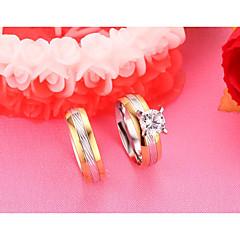 Homens Mulheres Anéis de Casal Zircônia cúbica Moda Estilo simples Elegant Titânio Aço Forma Redonda Jóias Para Casamento Noivado