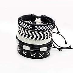 abordables Bijoux pour Femme-Homme Femme Effets superposés Bracelets - Cuir Twist Circle Multicouches Bracelet Blanc Pour Scène Plein Air