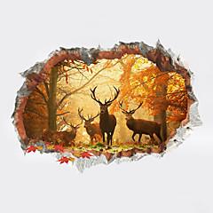 abordables Art mural-Animaux 3D Botanique Stickers muraux Autocollants avion Autocollants muraux 3D Autocollants muraux décoratifs 3D, Plastique Décoration