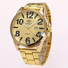 preiswerte Herrenuhren-Herrn Quartz Armbanduhr Chinesisch Imitation Diamant Legierung Band Freizeit Kleideruhr Elegant Modisch Gold