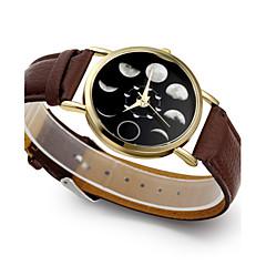 お買い得  大特価腕時計-女性用 リストウォッチ クォーツ ムーンフェイズ レザー バンド ハンズ ファッション エレガント ブラック / ブラウン - ブラック Brown