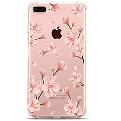 Capinha Para Apple iPhone X iPhone 8 Transparente Estampada Capa Traseira Flor Macia TPU para iPhone X iPhone 8 Plus iPhone 8 iPhone 7