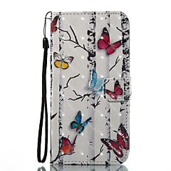 Etui til Apple iPhone 7 plus 7 Case Cover Kort Holder Pung med Stand Flip Pattern Full Body Case 3D Butterfly Hard PU Læder til 6s 6plus