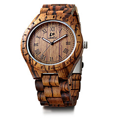 お買い得  メンズ腕時計-男性用 ブレスレットウォッチ 日本産 カレンダー クロノグラフ付き クリエイティブ ウッド バンド ハンズ ぜいたく ヴィンテージ カジュアル ブラック / レッド / ブラウン - Brown レッド 迷彩ブラウン / 大きめ文字盤