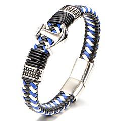 preiswerte Armbänder-Herrn Geometrisch Armreife Lederarmbänder - Titanstahl Klassisch, Modisch Armbänder Blau Für Geschenk Alltag