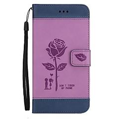 Недорогие Чехлы и кейсы для LG-Кейс для Назначение LG K8 (2017) K10 (2017) Бумажник для карт Кошелек со стендом Флип Рельефный Чехол Цветы Твердый Кожа PU для LG K10