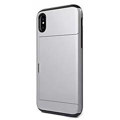 baratos Capinhas para iPhone-Capinha Para Apple iPhone X iPhone X iPhone 8 Porta-Cartão Antichoque Capa traseira Côr Sólida Rígida PC para iPhone X iPhone 8 Plus