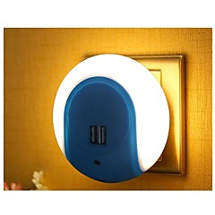 Smart LED Night Light with Light Sensor and Dual USB Charger Adapter for Mobile Phones iPhone 7 6s