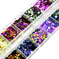 12 Farben / Karton 1&2&3mm nagelkunst glitter pailletten dekoration diy nagel salon