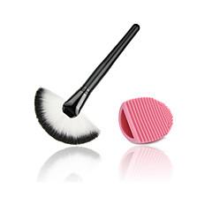 1set Fan Brush Powder Brush Synthetic Hair wood Face