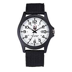 お買い得  メンズ腕時計-男性用 クォーツ 軍用腕時計 カレンダー 生地 バンド カジュアル ブラック / ブルー
