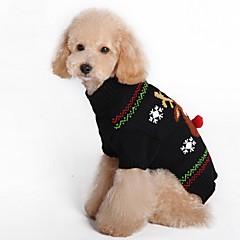 お買い得  犬用ウェア&アクセサリー-ネコ 犬 コート セーター 犬用ウェア トナカイ ブラック レッド スパンデックス コットン/リネン混 コスチューム ペット用 パーティー カジュアル/普段着 コスプレ 保温 結婚式 新年 クリスマス ハロウィーン