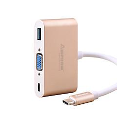 お買い得  Mac 用ケーブル-USB 3.0 / VGA / タイプC USBケーブルアダプタ 1 - 3 / 1080P / ハイスピード アダプター 用途 Macbook / Huawei / Xiaomi 15 cm 用途 アルミ