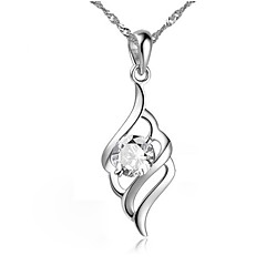 cheap Necklaces-Women's Feather Wings / Feather Shape Elegant Simple Style Pendant Necklace AAA Cubic Zirconia Sterling Silver Zircon Pendant Necklace