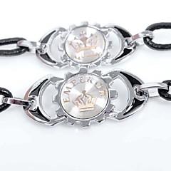 preiswerte Armbänder-Herrn / Paar Lederarmbänder - Leder Krone Personalisiert, Modisch Armbänder Schwarz Für Ausgehen / Valentinstag