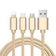 USB 2.0 Câble, USB 2.0 to USB 2.0 Type C Micro USB 2.0 Lightning Câble Male - Male 1.2m (4ft)
