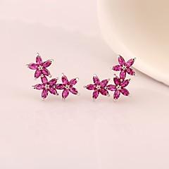Női Beszúrós fülbevalók Függők Szintetikus rubin luxus ékszer Klasszikus Arannyal bevont Természetes kő Négylevelű lóhere Ékszerek