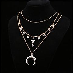 Жен. Ожерелья с подвесками Кристалл В форме звезды месяц Хрусталь Сплав Базовый дизайн Мода Бижутерия Назначение Повседневные