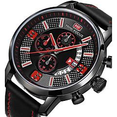 お買い得  大特価腕時計-男性用 リストウォッチ 日本産 クォーツ 30 m カジュアルウォッチ レザー バンド ハンズ チャーム ブラック / グレー - グレーイエロー ブルー ブラック / ホワイト / ステンレス