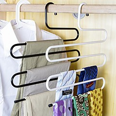 Stainless Steel Pants Hangers Trousers Rackers Five-layer Towels Scarves Space Random Color