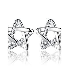 preiswerte Ohrringe-Damen Kubikzirkonia Ohrstecker - versilbert Stern Silber Für Verabredung Valentinstag