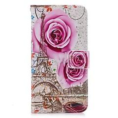 Кейс для Назначение Huawei Y5 III(Y5 2017) P8 Lite Бумажник для карт Кошелек со стендом Флип Чехол Цветы Твердый Искусственная кожа для