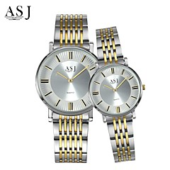 preiswerte Armbanduhren für Paare-ASJ Paar Armbanduhr Japanisch Quartz 30 m Armbanduhren für den Alltag Edelstahl Band Analog Charme Modisch Silber - Gold / Weiß Weiß / Silber