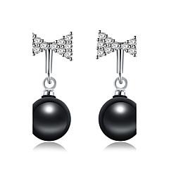 Women's Drop Earrings Cubic Zirconia Pearl Basic Fashion Pearl Zircon Black Pearl Bowknot Drop Jewelry For Party Work