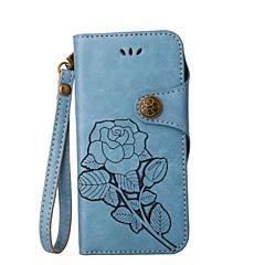 para la cartera de la cubierta del caso monedero del soporte con el patrón de tirón del soporte caja del cuerpo completo de la flor dura
