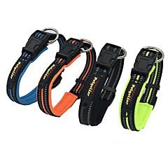 お買い得  犬用首輪/リード/ハーネス-ネコ 犬 カラー 反射 ソリッド ナイロン ブラック オレンジ グリーン ブルー