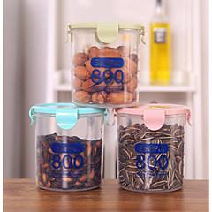 800 밀리리터 플라스틱 봉인 캔 부엌 저장 상자 투명한 음식 용기