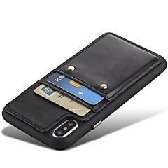 Недорогие Кейсы для iPhone X-Кейс для Назначение Apple iPhone X iPhone 8 Бумажник для карт Защита от удара Кейс на заднюю панель Сплошной цвет Твердый Настоящая кожа
