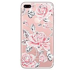 Кейс для Назначение iPhone X iPhone 8 Стразы Прозрачный С узором Задняя крышка Цветы Мягкий TPU для iPhone X iPhone 8 Plus iPhone 8