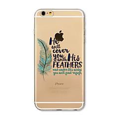 Недорогие Кейсы для iPhone 7-Кейс для Назначение Apple iPhone X iPhone 8 Прозрачный С узором Кейс на заднюю панель Слова / выражения  Перья Мягкий ТПУ для iPhone X