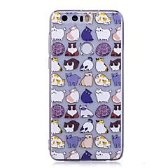 Недорогие Чехлы и кейсы для Huawei серии Y-Кейс для Назначение Huawei P9 Lite Huawei Huawei P8 Lite IMD Прозрачный С узором Кейс на заднюю панель Кот Животное Мягкий ТПУ для P10