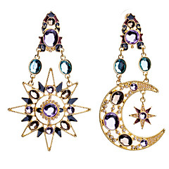 preiswerte Ohrringe-Damen Kubikzirkonia Unterschiedliche Ohrringe - Zirkon MOON, Stern Gold Für Party Ausgehen