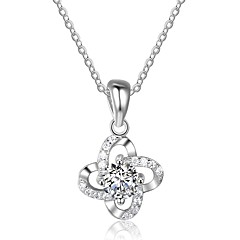 Women's Pendant Necklaces Cubic Zirconia Flower Sterling Silver Fashion Jewelry For Party Engagement