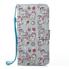 Кейс для Назначение Huawei Бумажник для карт Кошелек со стендом Флип С узором Магнитный Чехол единорогом Твердый Искусственная кожа для