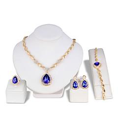 Mujer Pendientes colgantes Collar Cristal Moda Joyería de Lujo Cristal Brillante Gota Pendientes Pulseras Collar Anillo Para Boda Fiesta