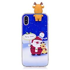 Недорогие Кейсы для iPhone 5-Кейс для Назначение Apple iPhone X iPhone 8 Plus Защита от удара Задняя крышка 3D в мультяшном стиле Рождество Мягкий TPU для iPhone X