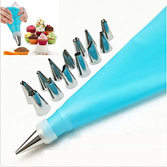16 Pcs/Set Silicone Icing Piping Cream Pastry Bag Stainless Steel Nozzle